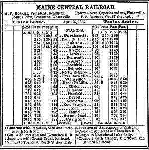 Maine Central Railroad Company - MEC Portland-Bangor 1867