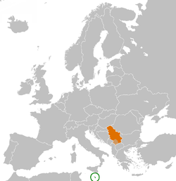 Map indicating locations of Malta and Serbia