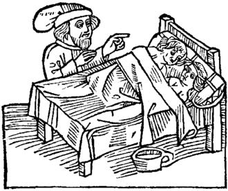 John Mandeville - Illustration of a defloration rite (1484 edition).
