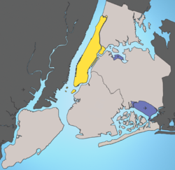 Manhattan highlighted in Yellow