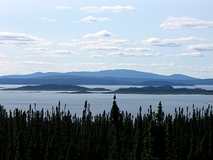 Mount Babel (Quebec) - View from the east of Mount Babel (right of center), René-Levasseur Island, and the Manicouagan Reservoir.