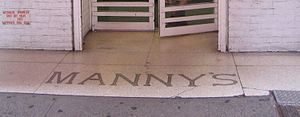 Manny's Music - Text on 48th Street in front of the shop's former location