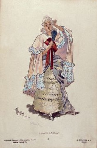 Manon Lescaut (Puccini) - Manon's costume for act 2 designed by Adolfo Hohenstein for the world premiere
