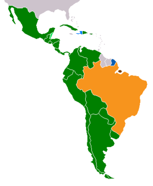 Latin American culture - Romance languages in Latin America: Green-Spanish; Blue-French; Orange-Portuguese