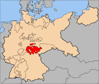 The state of Thuringia (red) upon its formation in 1920