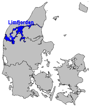 Limfjord - Location map of Limfjorden in Denmark. Note - the inlet from the North Sea is much narrower than this map shows