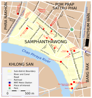 Chinatown, Bangkok - Samphanthawong District, containing most of the Chinatown area