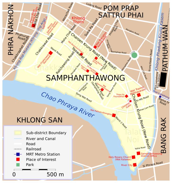 Carte de Samphanthawong ou Chinatown à Bangkok - Image de Lerdsuwa.