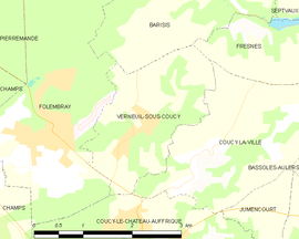 Mapa obce Verneuil-sous-Coucy