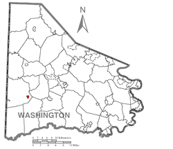 Location of Claysville in Washington County