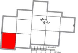 Location of Salt Creek Township in Hocking County