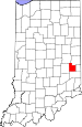 Map of Indiana highlighting Fayette County.svg
