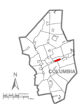 Map of Lime Ridge, Columbia County, Pennsylvania Highlighted.png