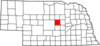 Map of Nebraska highlighting Valley County