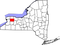Map of Njujork highlighting Genesee County