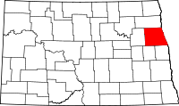 Map of North Dakota highlighting Grand Forks County