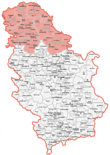 Map showing Vojvodina within Serbia