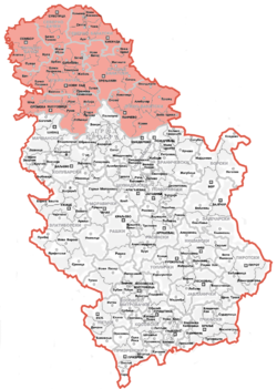 Location of Vojvodina (red) in Serbia (white)