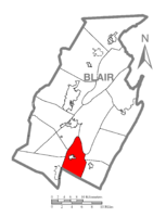 Map of Blair County, Pennsylvania highlighting Taylor Township
