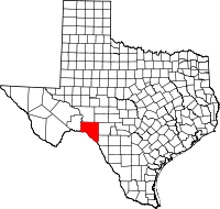 Map of Teksas highlighting Val Verde County