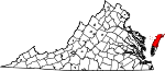 State map highlighting Accomack County