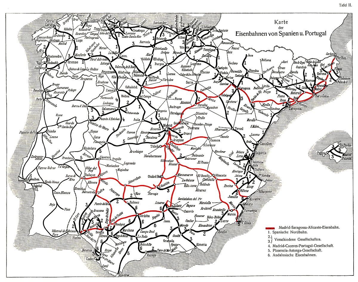 History Of Rail Transport In Spain Wikipedia - Portugal map wikipedia