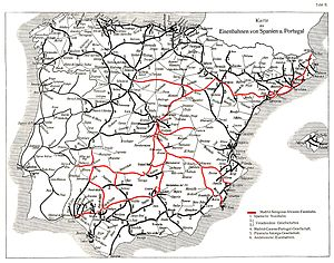 History of rail transport in Spain - Map of railways of the Iberian peninsula (1921)