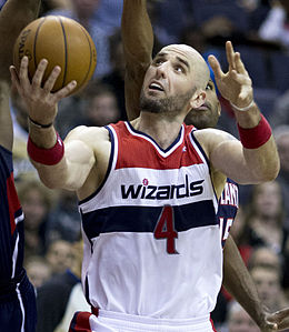 Gortat con l'uniforme dei Washington Wizards