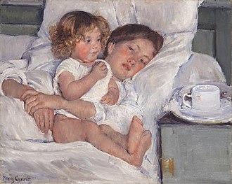 Little Girl in a Blue Armchair - Image: Mary Cassatt Breakfast in Bed Huntington Library