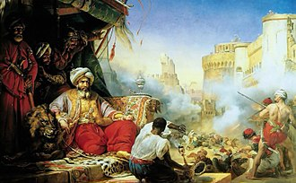 Muhammad Ali's seizure of power - The  massacre of the Mamluks at Cairo, Egypt, painted by Horace Vernet.