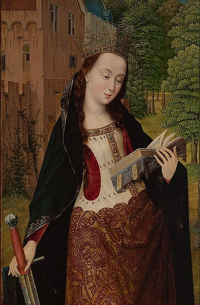 https://upload.wikimedia.org/wikipedia/commons/thumb/e/e3/Master_of_the_Embroidered_Foliage_-_St._Catherine.jpg/393px-Master_of_the_Embroidered_Foliage_-_St._Catherine.jpg