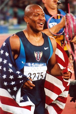 Maurice Greene (athlete) - Greene after winning the 100 m event at the 2000 Summer Olympics in Sydney