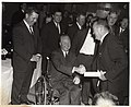 Mayor John F. Collins and Vice President Hubert Humphrey with unidentified men (10559390066).jpg