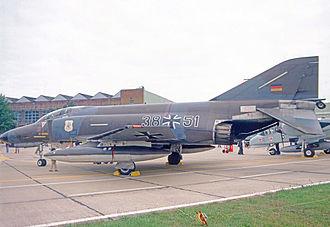 "Taktisches Luftwaffengeschwader 71 ""Richthofen"" - F-4F Phantom II of JG 71 in 1978 wearing the unit shield marking on its engine intake cover"