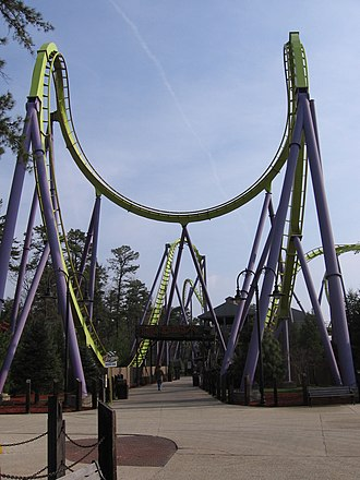 Floorless Coaster - Medusa's cobra roll at Six Flags Great Adventure