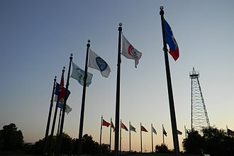 Flag - Tribal flags at Meeting Place Monument/Flag Plaza at the Oklahoma State Capitol
