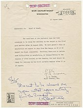 170px Memorandum from Major General Leslie Groves to Army Chief of Staff George Marshall