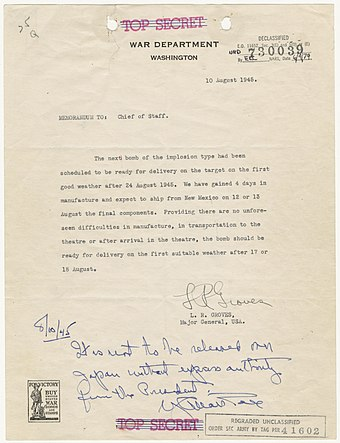 Memorandum from Groves to Marshall regarding the third bomb, with Marshall's hand-written caveat that the third bomb not be used without express presidential instruction. Memorandum from Major General Leslie Groves to Army Chief of Staff George Marshall.jpg