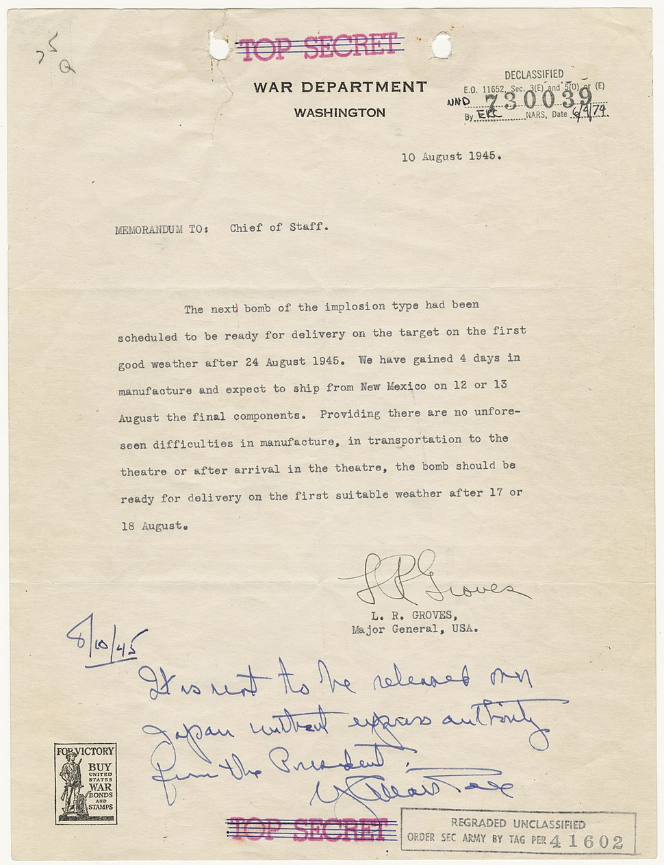 Memorandum from Major General Leslie Groves to Army Chief of Staff George Marshall