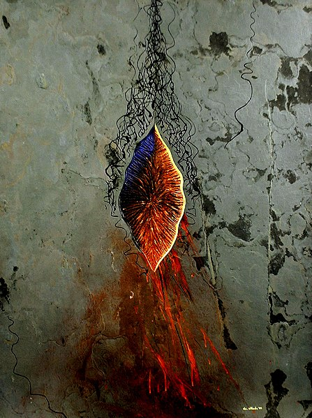 File:Menstrual Period in Political History, 2005, 60 x 50 inch, acrylic & metamorphic rock on board.JPG