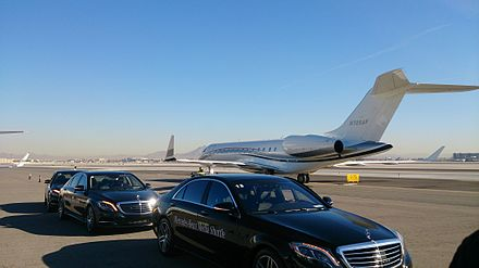 McCarran International Airport provides private and public aviation services to the city Mercedes Benz at CES 2014 (13896148599).jpg