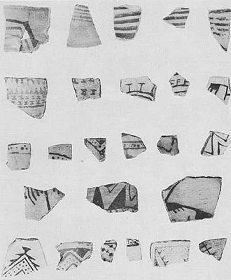 Pueblo I Period - Image: Mesa Verde National Park Basketmaker III Pueblo I Decorated Bowl Sherds