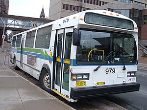 "Halifax Transit - Metro Transit bus with original green and blue livery with a stylized ""M"""
