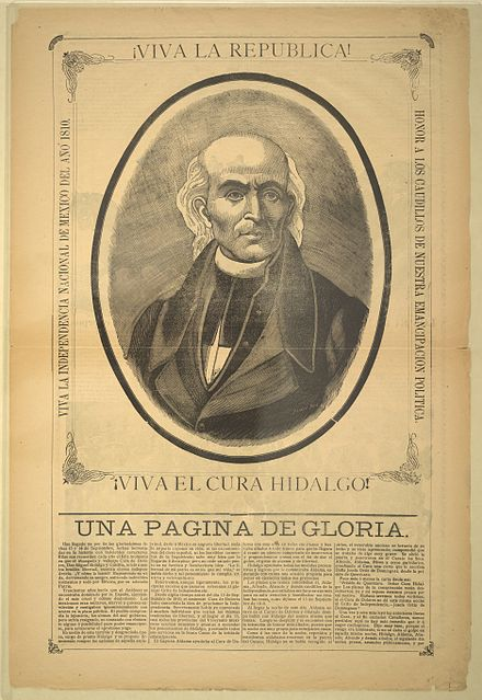 Etching depiciting Hidalgo's portrait, on a pamphlet celebrating Mexican independence Miguel Hidalgo y Costilla.jpg