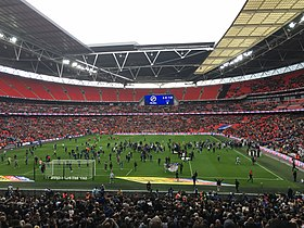 The First Pitch Invasion At The New Wembley By Millwall Fans May