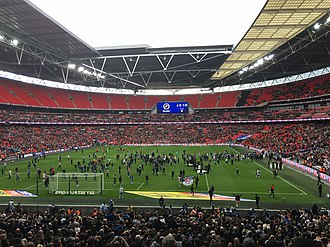 Millwall F.C. - The first pitch invasion at the new Wembley by Millwall fans, May 2017.