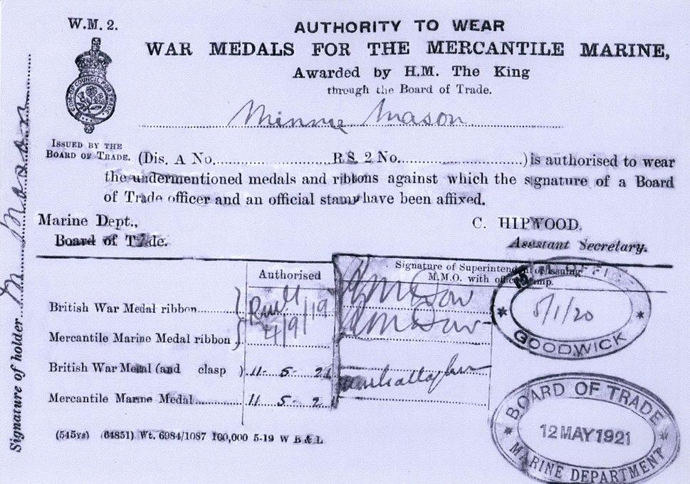 Minnie's authority to wear medals cert