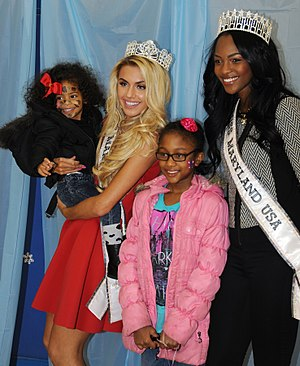Miss Maryland USA - Taylor Dawson, Miss Maryland Teen USA 2015 and Mame Adjei, Miss Maryland USA 2015 at an event for military families