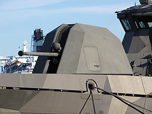 Bofors 57 mm gun - The 57 mm Mk 3 on the bow of a Hamina-class missile boat; note the prominent but small radome above the gun barrel which is used for measuring muzzle velocity of the departing projectile