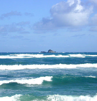 Islet - Mōkōlea Rock in Kailua Bay, O'ahu, Hawai'i, 2.2 km off North Beach, Marine Corps Base Hawaii